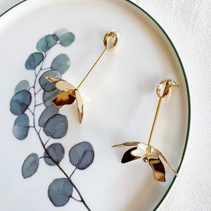 J. Crew Gold Flower Statement Earrings